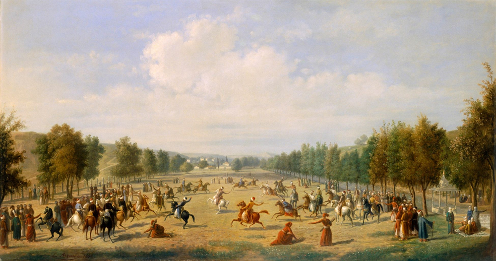 A Jereed Game in Kathane Luigi Acquarone from Antoine Ignace Melling Oil on canvas 655 x 120 cm 1891 1